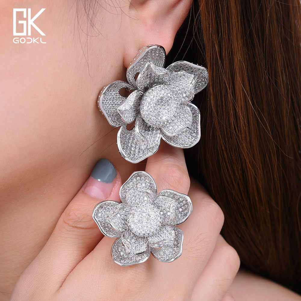 GODKI Super Flowers Leaf Luxury Full Micro Cubic Zirconia Geometry Earring Ring Sets For Women Wedding Dubai Bridal Jewelry Sets