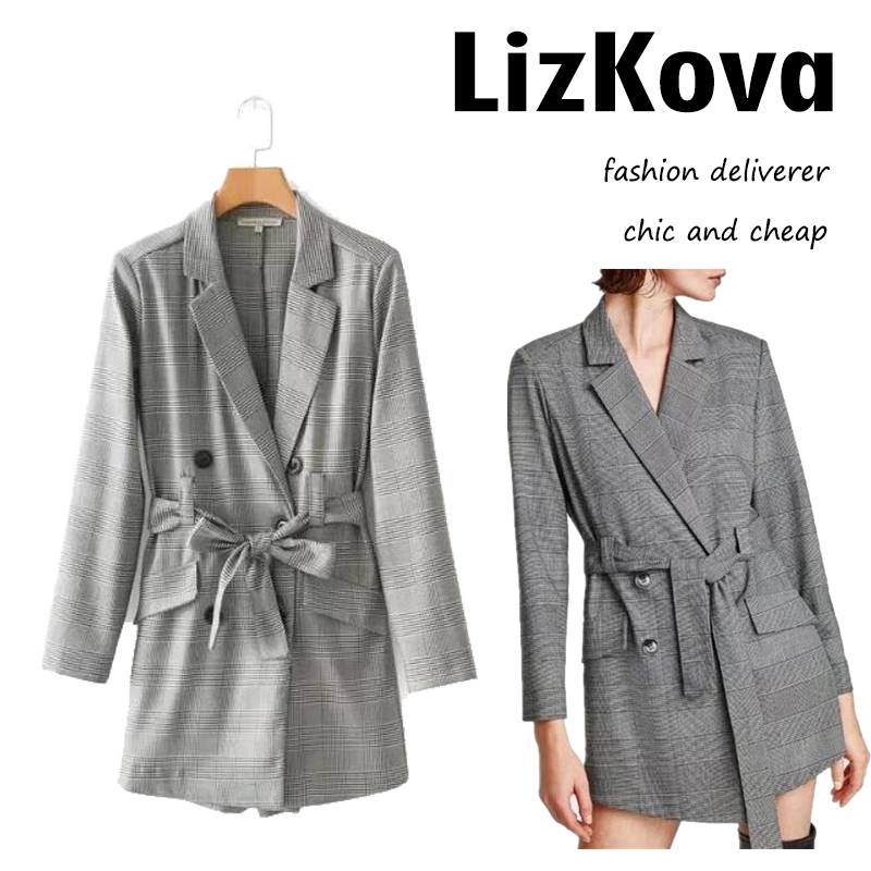 Fashion Plaid Blazer Playsuit Women England Houndstooth Playsuit with Bow Belt Office Lady Short Pants Work Jumpsuit