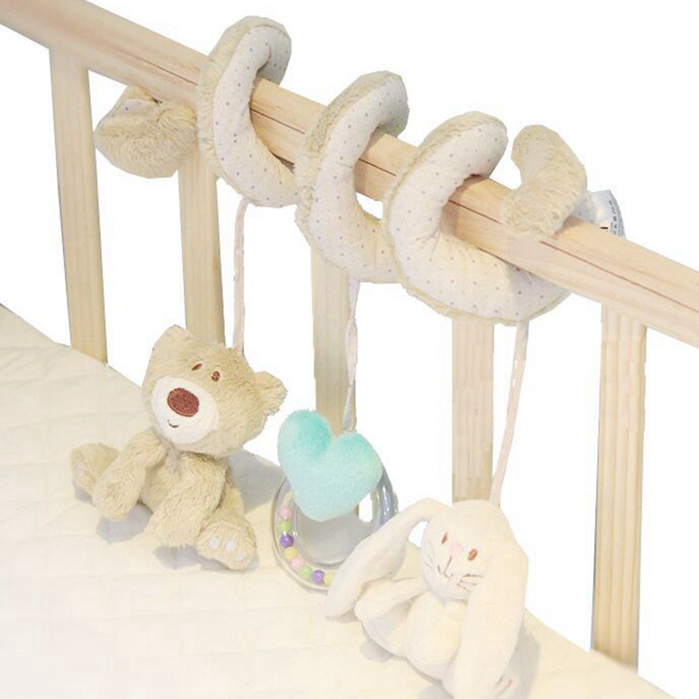 Cute Bear Rabbit Infant Babyplay Activity Spiral Bed & Stroller Toy Set Hanging Bell Crib Cot Spiral Rattle Toys Baby