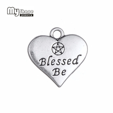 My Shape 20pcs Heart Charm Double side Letter Blessed Be Wicca Pentacle Pentagram Pendant for Jewelry Making Antique Silver Tone(China)