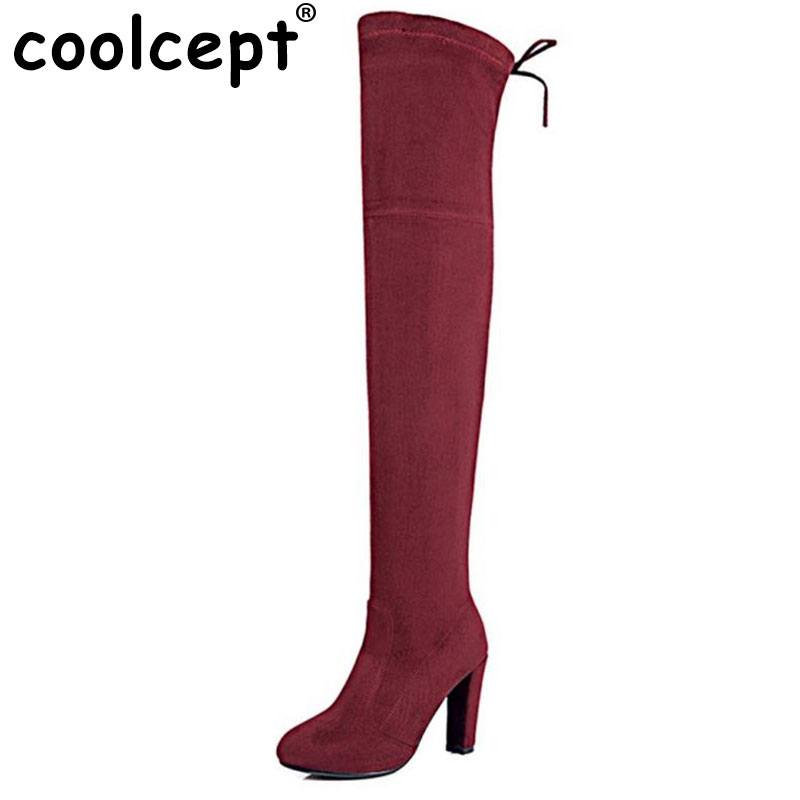 Coolcept Womens Stretch Slim Suede Over the Knee Boots Thigh High Boots Sexy High Heel Boot Shoes Woman Black Grey Size 34-43<br>