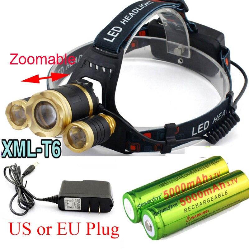 Zoomable  8000LM 3x XM-L T6 LED Headlight 8000 Lumen Head Lamp Flashlight Torch Lanterna Headlamp+Battery/Charger<br><br>Aliexpress