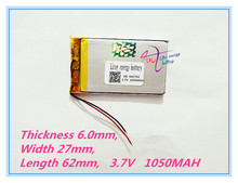 best battery brand MP4 MP5 GPS rechargeable lithium polymer battery 602762 3.7V 1050MAH The cell phone battery battery plates