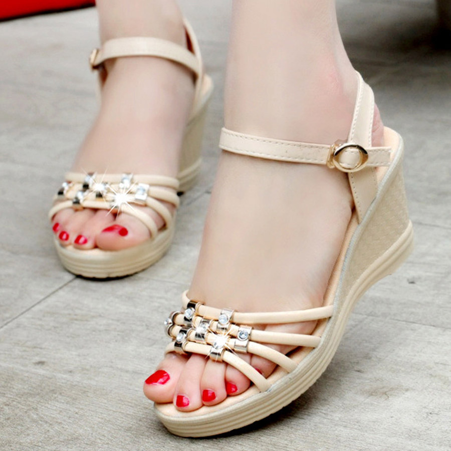 New Trend women fashion all match high heel sandals summer color band leisure  fish mouth shoes wedge sandals wear comfortable<br><br>Aliexpress