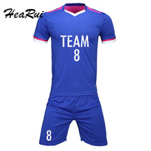2017 New Season Men Soccer Jerseys Pro Soccer Uniform survetement Short Sleeved Football Set Maillot de foot Customize Logo
