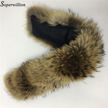 Soperwillton Luxury 60-90cm Real Fur Scarf Jacket Fur Collar Women Winter Coat Fur Scarves Raccoon Fur Shawl Warm Neck Warmers(China)