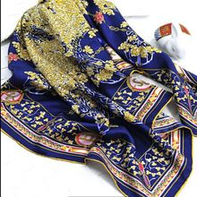 Temperament Print 100% Silk Twill Scarf Women's Square Silk Scarves Wraps Shawl 90x90cm Clothing Accessory