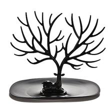 Black Jewelry Organizer Stand w/ Ring Tray Decorative Deer Antler Tree Design Bracelet Necklace Holder (Black)