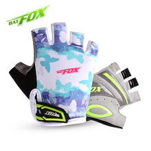 BATFOX Kids Boys Girls Cycling Gloves Half Finger Bike Gloves Shockproof Breathable Children MTB Bicycle Gloves Guantes Ciclismo