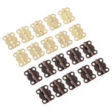 10Pcs 16*13mm Antique Bronze/Gold Cabinet Hinges Furniture Accessories Jewelry Boxes Small Hinge Furniture Fittings For Cupboard