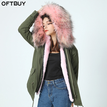 New big raccoon fur hood winter jacket women parka natural real fur coat for women thick soft lining abrigos de piel mujer 2017(China)