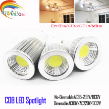 Lampada led bulb E27 E14 GU10 MR16 12V LED COB Spotlight Dimmable 9w 12w 15w Spot Light Bulb high power lamp DC 12V or 85-265V(China)
