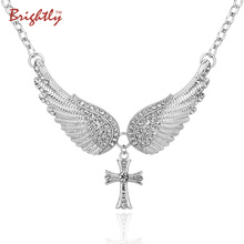 Brightly Hot Sales Statement Choker Necklace Angel Wings Cross Pendants Necklaces for Women Gifts