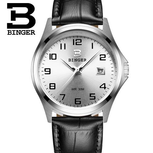 Geneva Brand Binger Fashion Sport Men Watch Leather Quartz Watch Casual Watches Hour montre homme relogio masculino reloj hombre<br>