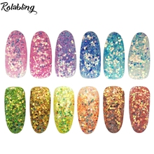 Fashion 12 Colors Nail Art Glitter Dust Powder For Beauty Salon Manicure Tools Fluorescent Pigment Powder Nail Accesories