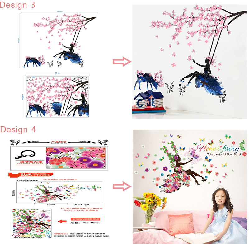 HTB1W h4SFXXXXXxaXXXq6xXFXXXw - Butterfly Flower Fairy Wall Stickers for Kids Rooms