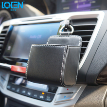 Leather Car Air Outlet Mobile Phone Bag Black White Car Storage Box Multi-use Tools Organizer Box Auto Supplies Keyrings Pockets(China)
