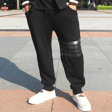 fan te xi ying Plus size pants for men black thin spring and autumn male elastic