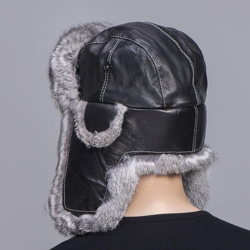 grey rabbit fur sheepskin hat 1