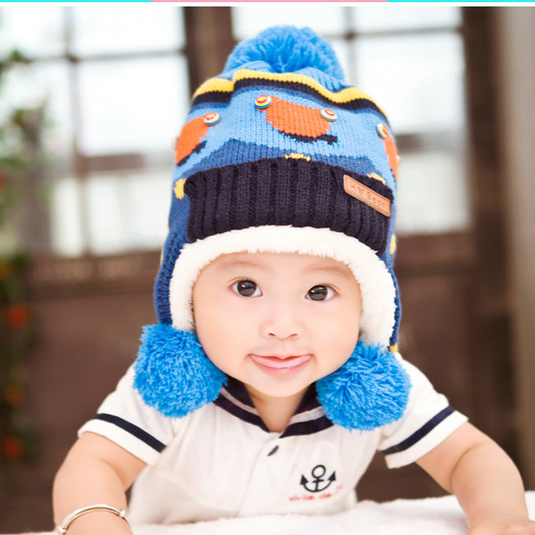 2016 new winter ball children cap thick warm color ear cap baby knitted hatÎäåæäà è àêñåññóàðû<br><br><br>Aliexpress