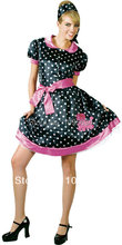 Free Shipping 1950s Polka Dot Skirt Ladies Girls Fancy Dress 50's Rock n Roll Grease Costume