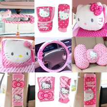 Pink Car-Styling Car Seat Covers Interior Accessories Hello Kitty Car Steering Wheel Cover Safty Belt Handbrake Gears Cover