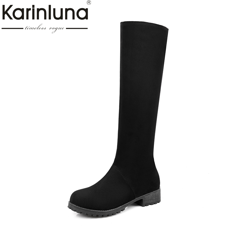 KARINLUNA 2017 plus sizes 34-48 platform BRAND shoes woman knee high boots winter square heels riding boots<br>