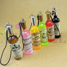 100pcs Fashion wine bottle mobile chain mobile phone pendant strap bag decoration wedding party advertising gift supplies