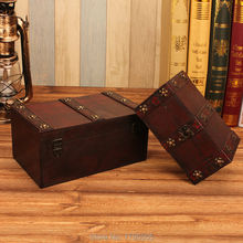 Wood 2 Size Storage Box Antique Wooden Box Cosmetics Box Makeup Organizer Secret Room Taking Photo Props Storage Desk Retro Box