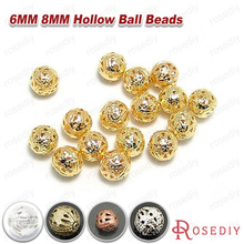 (8945-G)50PCS 6MM 8MM Iron Hollow Metal ball Round Beads Spacer Beads Diy Handmade Jewelry Findings Accessories Wholesale