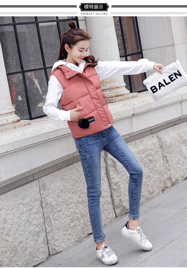 NIJIUDING M-XXXL 2018 New Parka Spring Autumn Slim Velvet Women Vest Jacket Warm Cotton-padded Winter Plus Size Waistcoat female (4) -