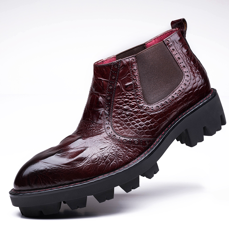 Red/Black Crocodile Pattern New 2017 Spring/Autumn Mens Genuine Leather Durable Waterproof Men Shoes Lace-up Brogue Dress Boots<br><br>Aliexpress