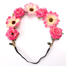 M MISM Stylish Women Girls Floral Headband Bohemia Hair Band Flower Garland Head Wrap Hair Accessories Gift High Quality