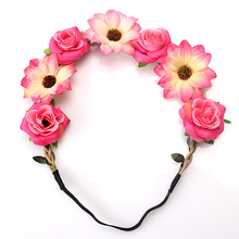 M MISM Stylish Women Girls Floral Headband Bohemia Hair Band Flower Garland Head Wrap Hair Accessories Gift High Quality(China)