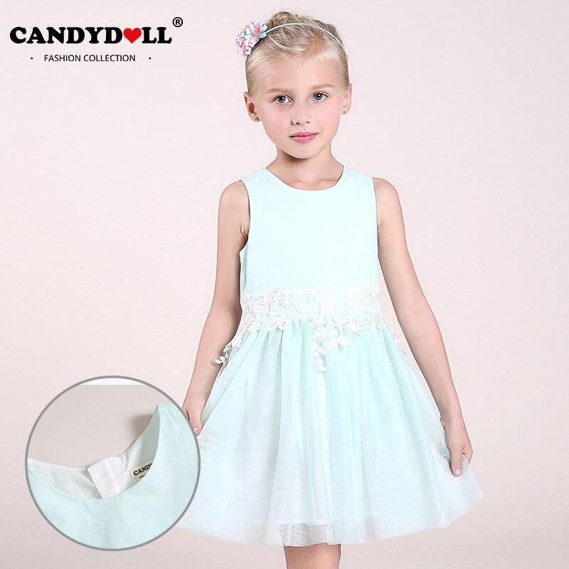 2017 summer new childrens clothing net yarn girls dresses pleated children princess dresse light green A word dress<br>