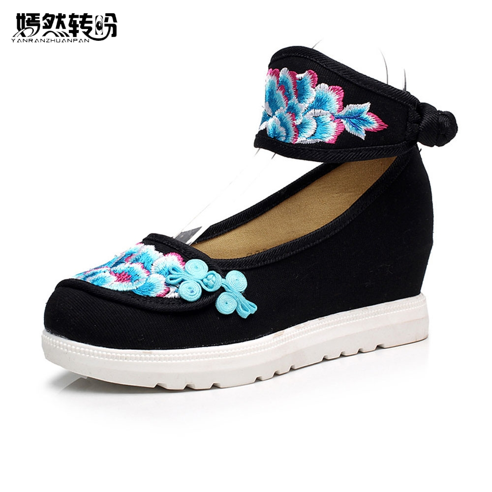 Vintage Women Pumps Flowers Embroidered Casual Canvas Platforms Ankle Wrap Retro Cotton Fabric  Shoes for Ladies 34-41<br>
