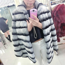 Top Best Winter Whole Natural Rex Rabbit Fur Coat Women's Real Fur Jacket Genuine Chinchilla Stripe Outerwear Large Size