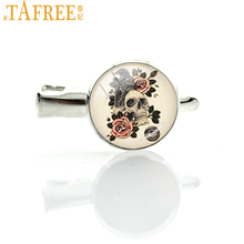 TAFREE Crow Skull hairgrips flowers raven skull hairpin personalized rose picture artwork hair clip pins for women jewelry T562(China)
