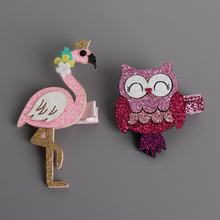 New Cute Cartoon Flamingo And Owl Baby Hairpins kids Hair Clips Children Headwear Princess Barrette Girls Hair Accessories