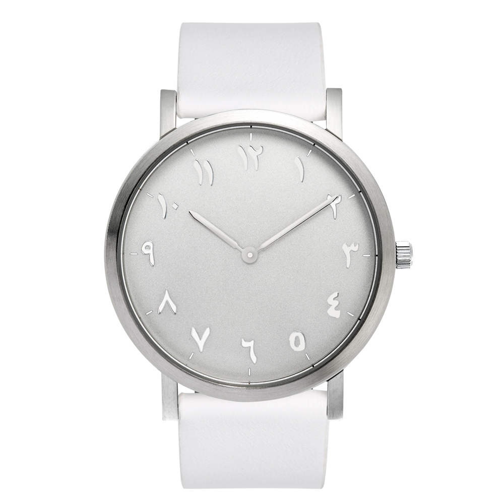 Silver Case White watchband, Unisex Arabic Watch 316L Stainless Steel Case<br>