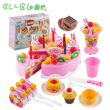 New Children Toys 75Pcs/Set Plastic Cutting Birthday Cake Pretend Play Food Toy Kids gift box