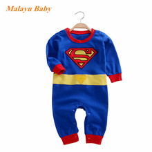 Malayu Baby Superhero Superman Fall Baby One Piece 2017 New Cartoon Embroidered Blue Superman Baby One-piece Dress 0-12 Months