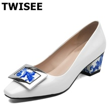 new 2016 women HIGH quality Square Toe 5cm low-heel pump Spike Heels shoes female match career Patent Leather shoes blue white