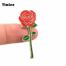 Timlee X222 Cartoon Cute Red Rose Design Metal Brooch Pins Romantic Gift Wholesale