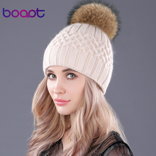 [bopat] double layer soft rabbit knitted caps natural raccoon fur pompom women's winter hats female headgear skullies beanies(China)