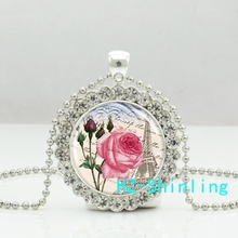 New Classic Eiffel Tower Pendant Necklace Pink Flower And Tower Crystal Pendants Jewelry Gifts Silver Ball Chain Necklaces