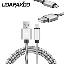 short 20cm 1m 2m nylon & metal plug weave micro USB Charger Cable for samsung galaxy s6 s7,sony z3 z4 moto x lg g3 g4 magna Leon(China)