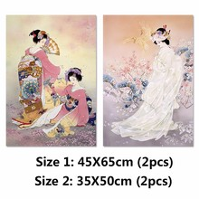 2017 2 Piece Unframed Japan style picture Plum flower pink kimonoPlenty lady Canvas Painting wall Artwork For living room