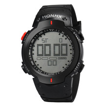 Fashion Waterproof Men's Boy LCD Digital Stopwatch Date Rubber Sport Wrist Watch Round Case Watch Relogio High Quality Watches