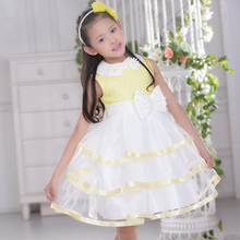 Top Quality 2017 Fashion Girls Formal Dress For Yellow And White Bow Elegant Dress For Birthday Kid Summer Clothes SKF154010(China)